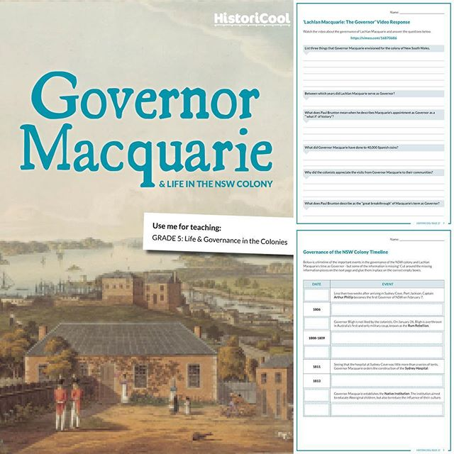 New PDF teaching resource coinciding with the latest issue of HistoriCool Magazine: 'Governor Macquarie & Life in the NSW Colony'. Plenty for Grade 5 teachers and students to sink their teeth into, including a cut & paste timeline activity, webquest, image analysis & more...! Grab it online from the HistoriCool Teacher Hub or #teacherspayteachers