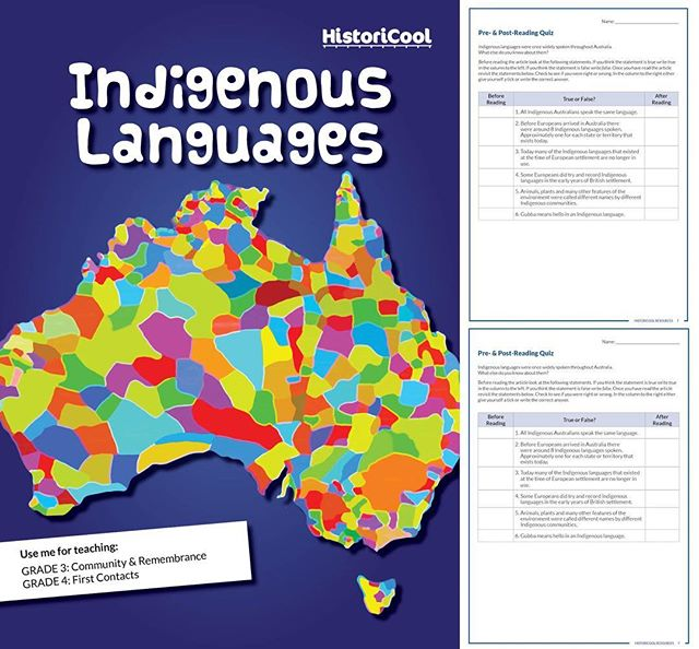 On the HistoriCool Teacher Hub: Indigenous Languages. 11 pages of information, activities and worksheets about the ancient languages spoken in Indigenous nations around Australia, and what they tell us about the unbreakable Indigenous connection to place. Check it out!