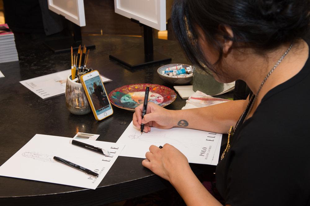 Polo Ralph Lauren + Elle Live Sketching event in Boca Raton, FL.