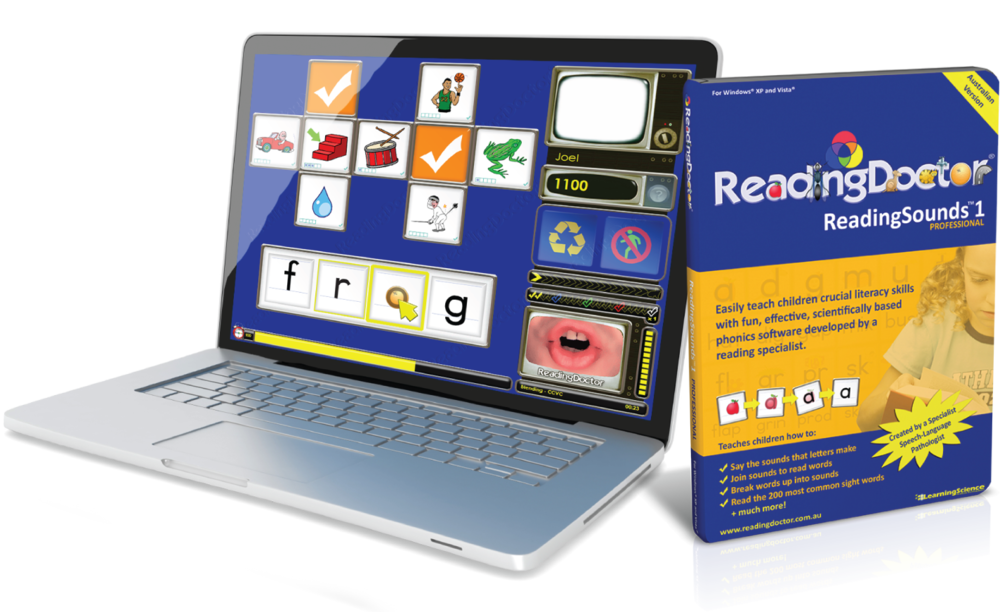 Reading Sounds  ™   1 Pro   Retail Version with QuickStart Guide, CD-ROM and box.