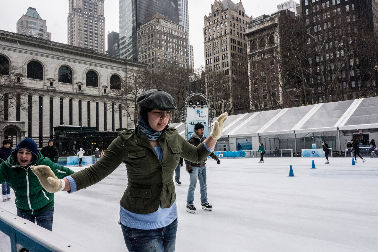 - Bryant Park, New York City Just a small-town girl, livin' in a snowy world. Or maybe not, I have no idea where she's from. But look at that determination on her face. She is going to skate the hell out of that ice.
