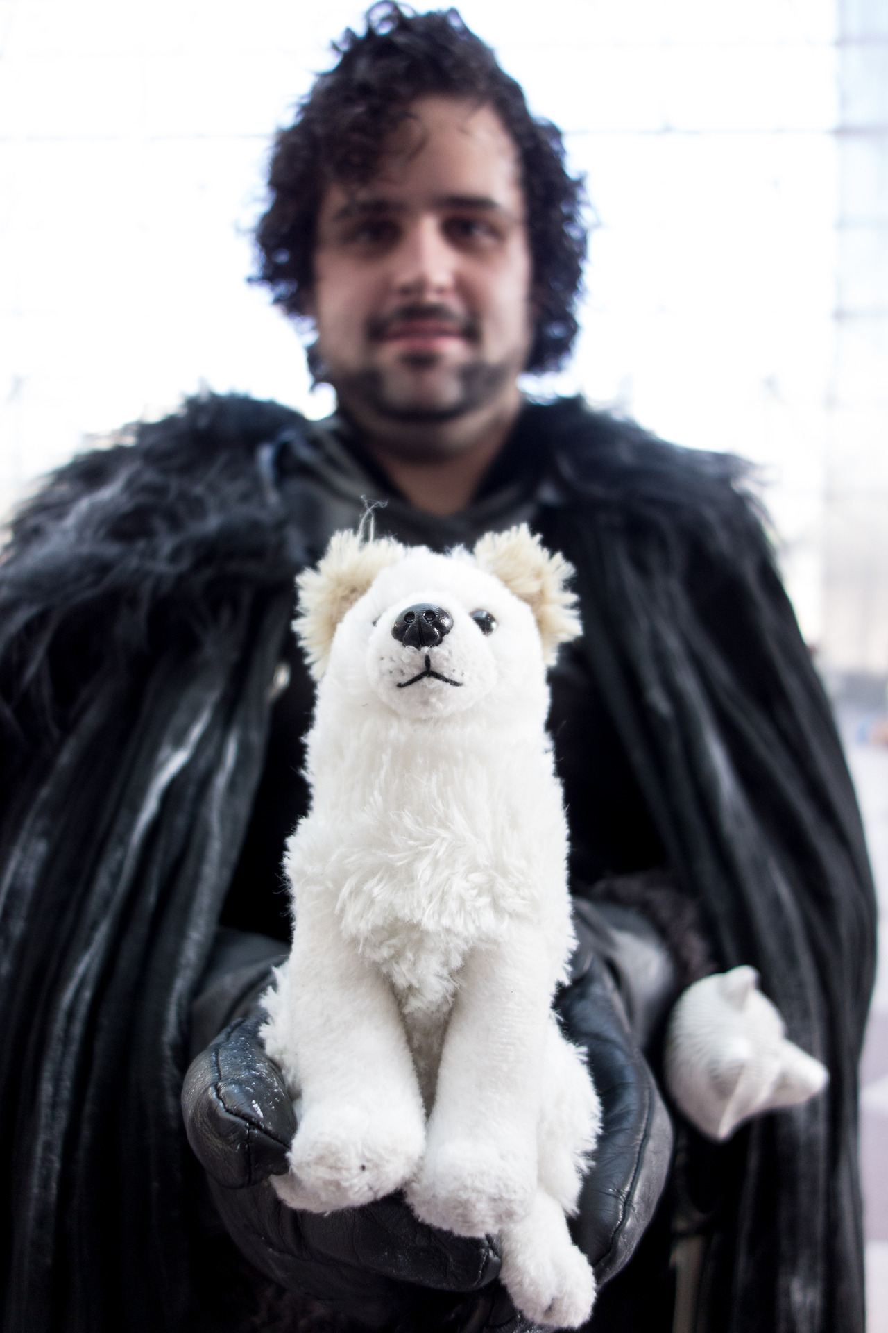 In honor of Game of Thrones S2 coming out on DVD/Blu-ray tonight, here's a Jon Snow cosplayer (with his direwolf Ghost) from last year's New York Comic Con.