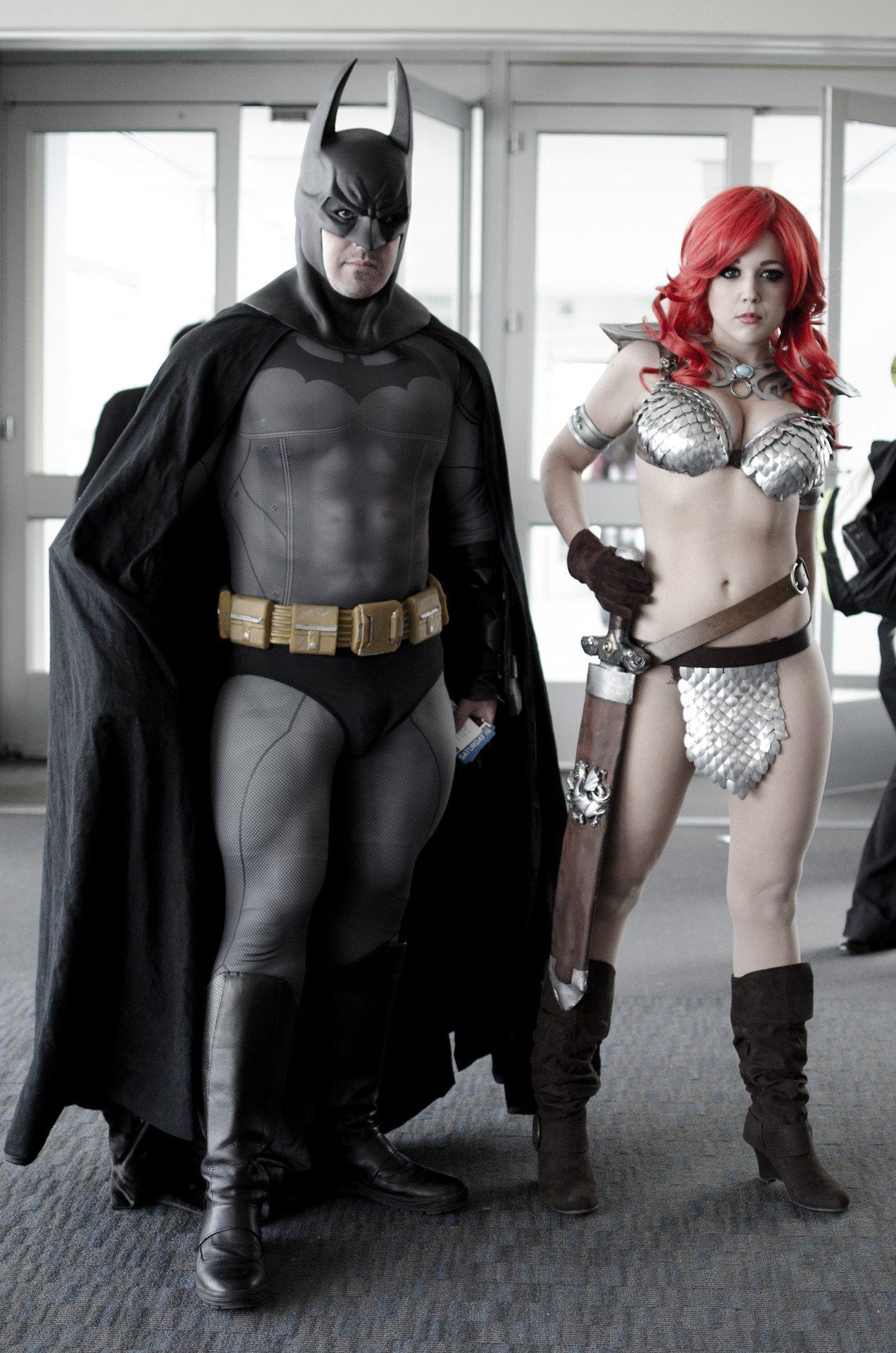 More PAX East cosplay: This is  Nicole Marie Jean  as Red Sonja, and I believe she's with  Spencer Doe  — as Batman, of course.