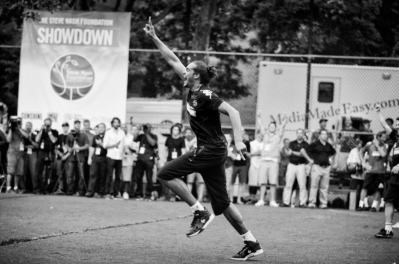Joakim Noah plays soccer the same way he plays basketball: emotionally. This is him after scoring his first and only goal during Steve Nash's Showdown in Chinatown.