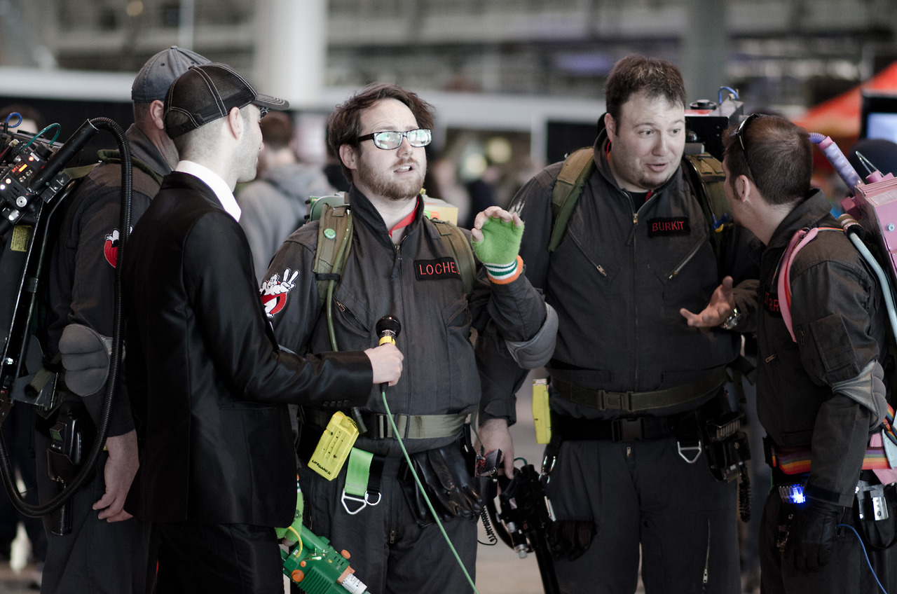 These Ghostbusters cosplayers were killing it at PAX East. Props for the multicolored proton packs.