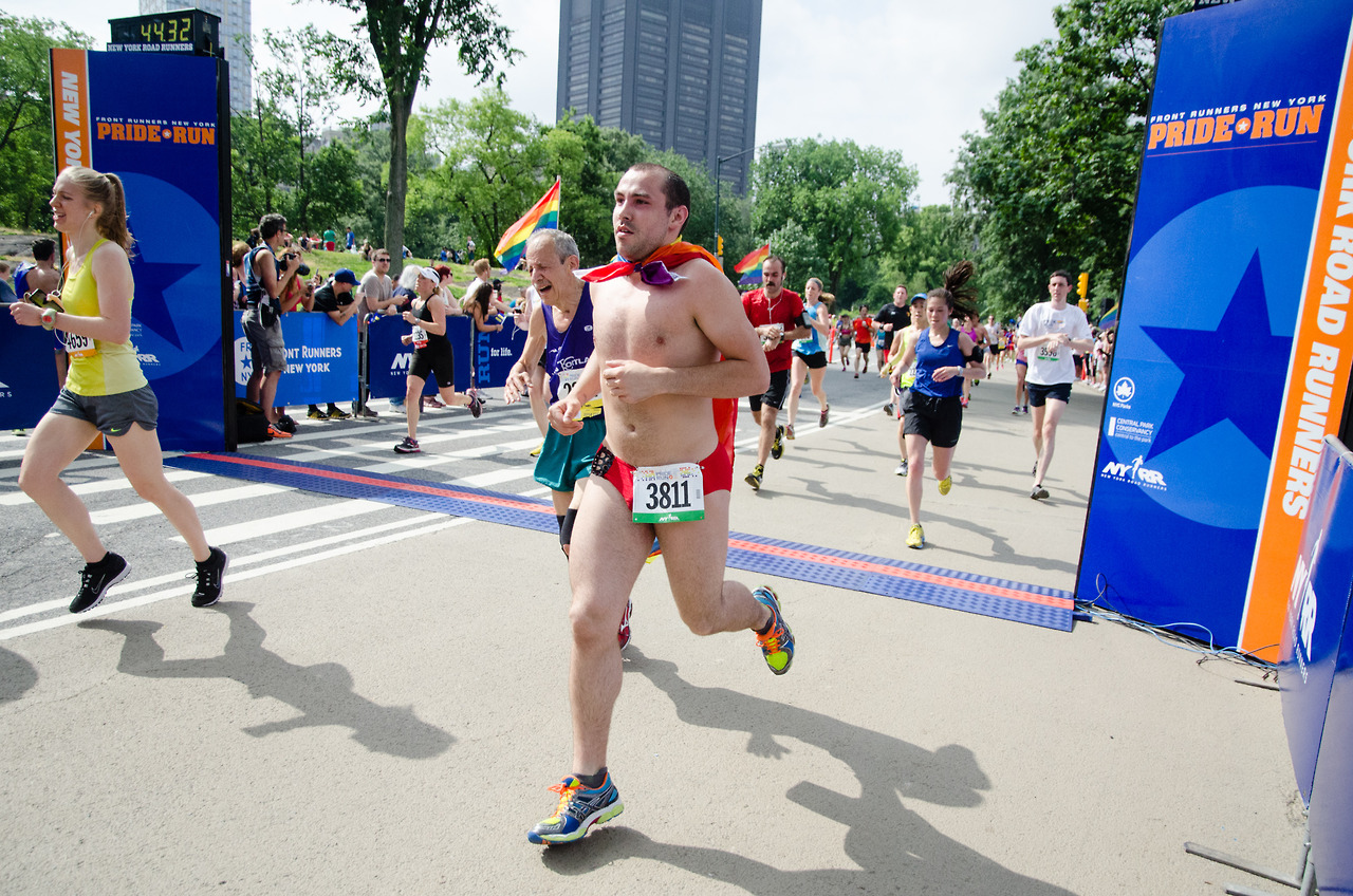 Seen at the Front Runners Pride Run this weekend in Central Park. Dude's got balls, and a red speedo to hold them in.