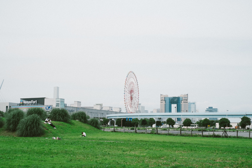If you squint you can see a group of cosplayers relaxing on a hill in Odaiba. Meanwhile, that is a giant ass Ferris wheel.