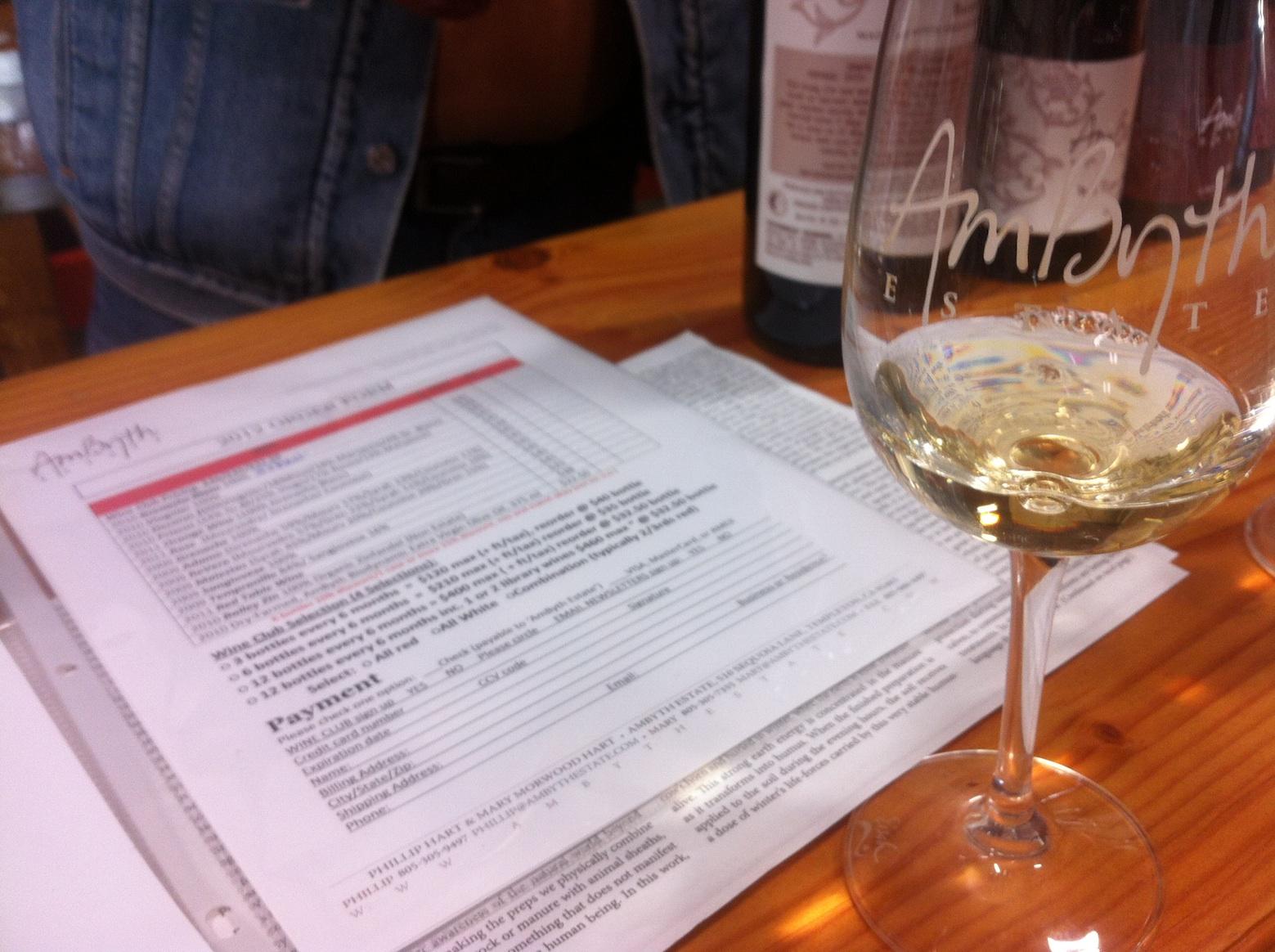 Wine tasting at Ambyth