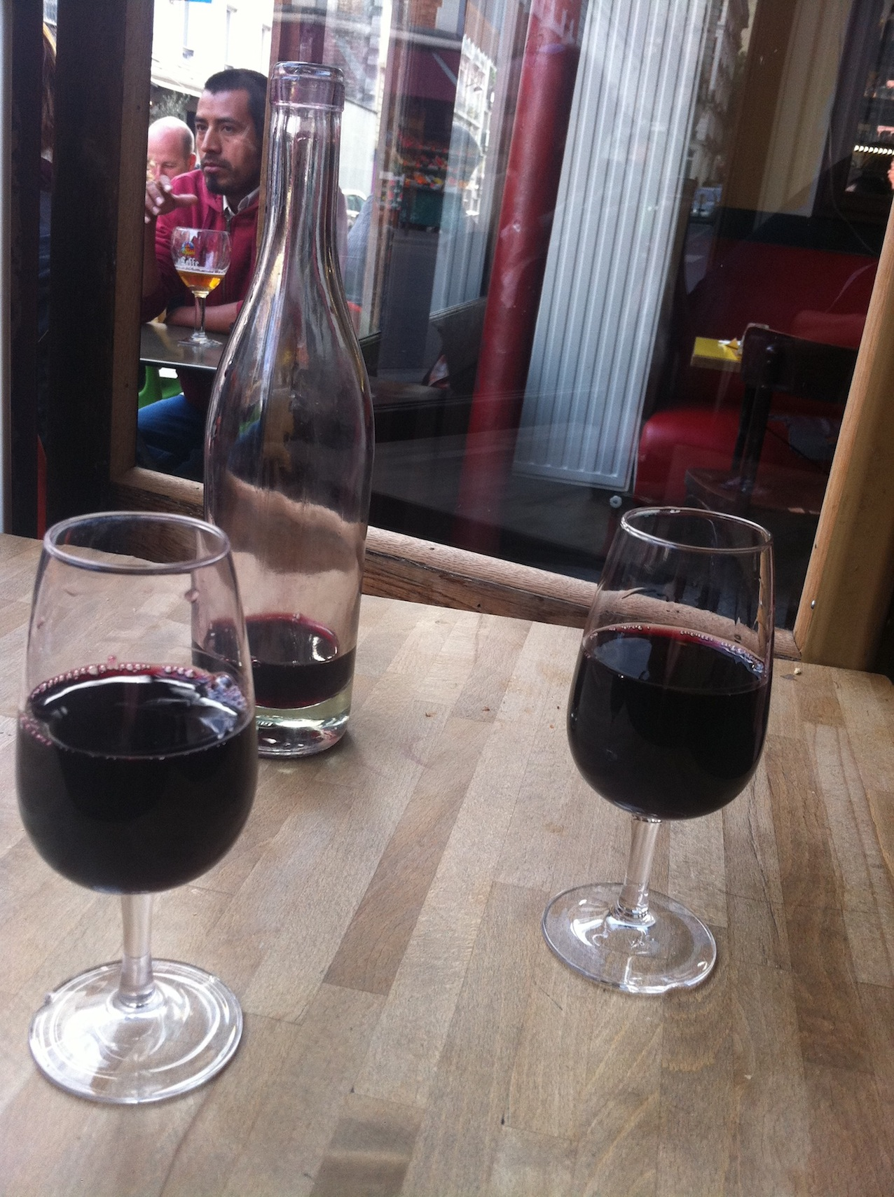 Natural wine is served by the glass, or in different sizes of carafes