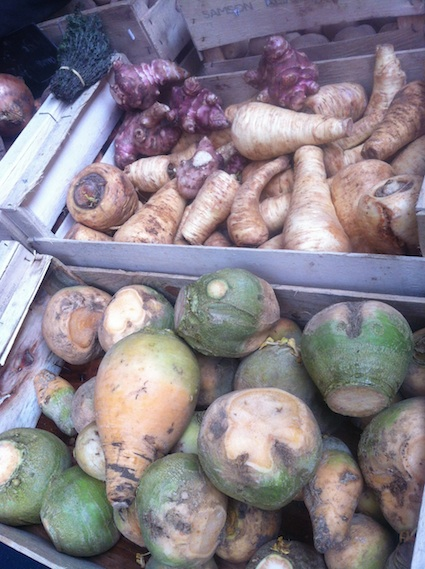 Rutabaga, Parsnips, and Sunchokes at Marché Bio de Raspail