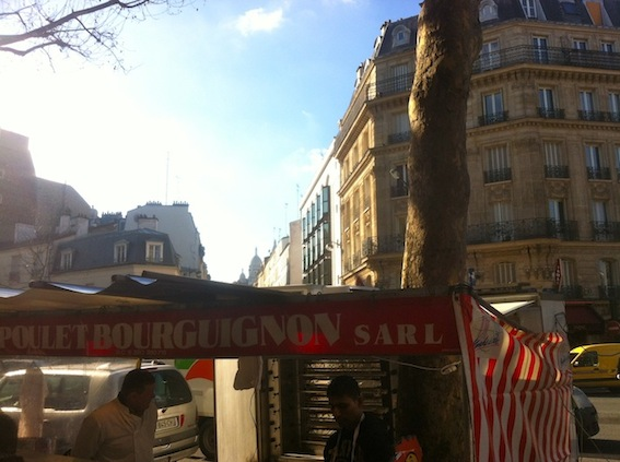 View of the sunshine and Sacre Coeur from Marché Orano