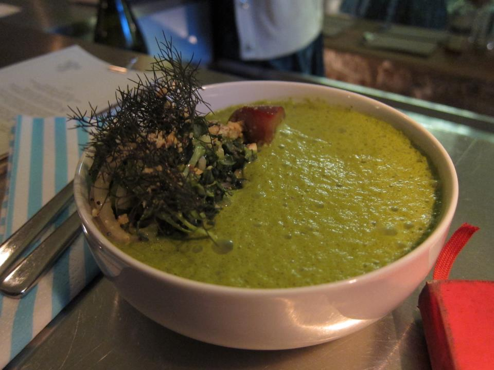 Kale Soup at Verjus (75001). One example of an amazing meat-free dish.
