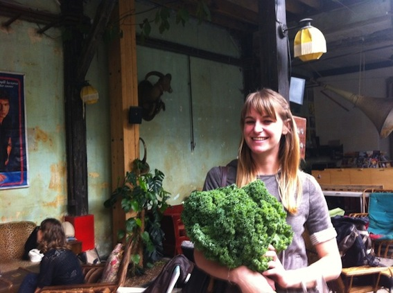 Buying kale at La Ruche Qui Dit Oui- photo courtesy of Kristen Beddard