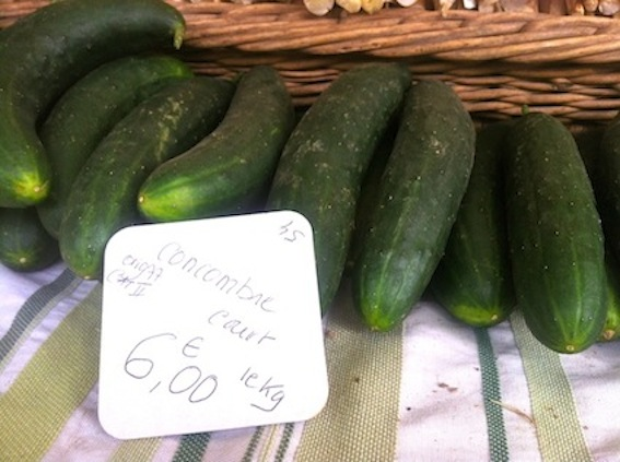 The first of the season, cucumbers at the Val du Coûtant stand at Marché Biologique des Batignolles