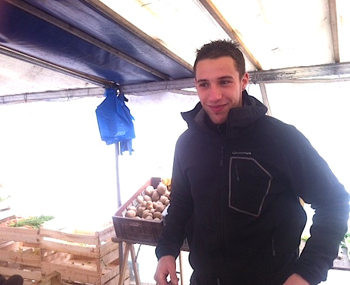 Salah Lemaire is the charming vendor at Mr. Le Trepied's stand