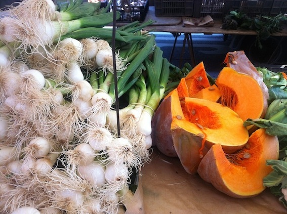 Winter squash and spring onions at the market
