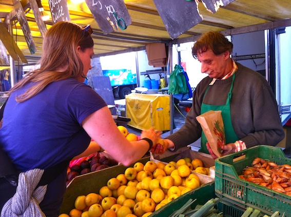 Locally grown apples at from Mr. Martinet's stand at Marché Bastille