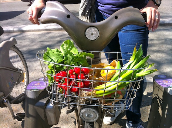 Bike baskets and fresh market produce are a dream come true for a culinary cyclist!
