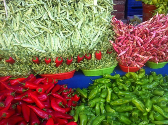 Beans and Peppers at Istanbul's Tarlibasi market