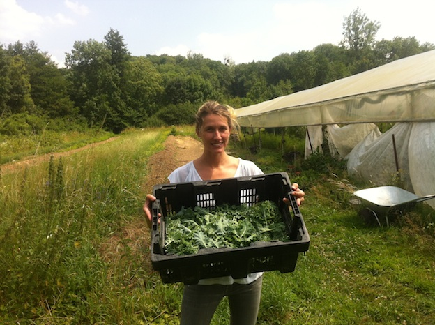 Kristen from The Kale Project showing off some freshly picked kale.