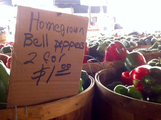 Locally grown bell peppers at Nashville's Farmers Market
