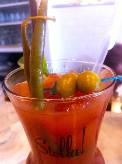 Dill Pickled green beans garnish a Bloody Mary at Stanley in New Orleans