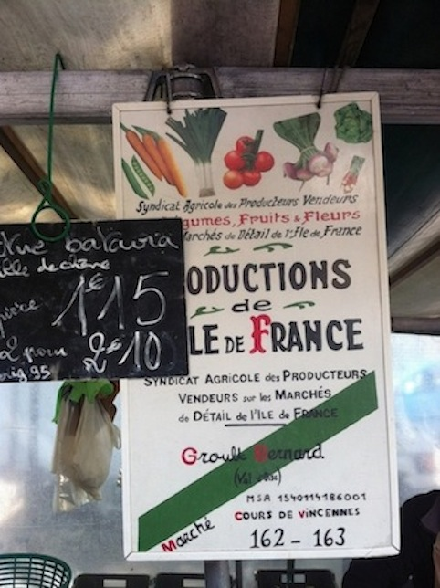 Ile-de-France produce sold at Marché Cours de Vincennes