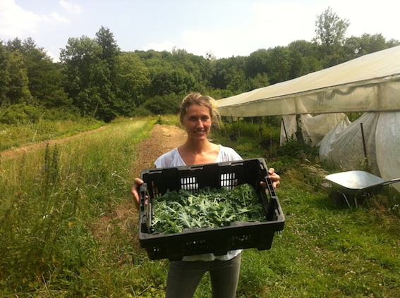 "Kristen with a fresh harvest of kale from ""Madame Mustard's"" Ile-de-France garden."