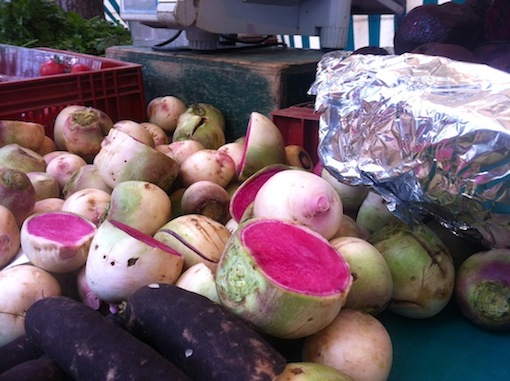 Locally grown watermelon radishes