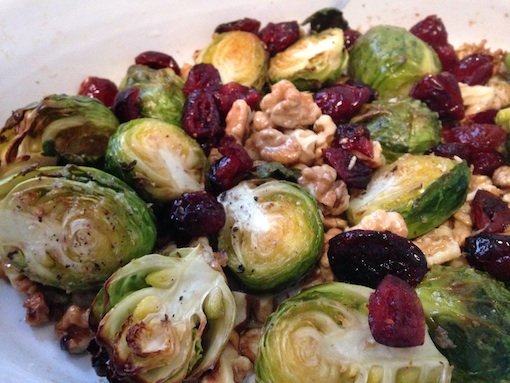 Roasted Brussels Sprouts with Walnuts and Dried Cranberries