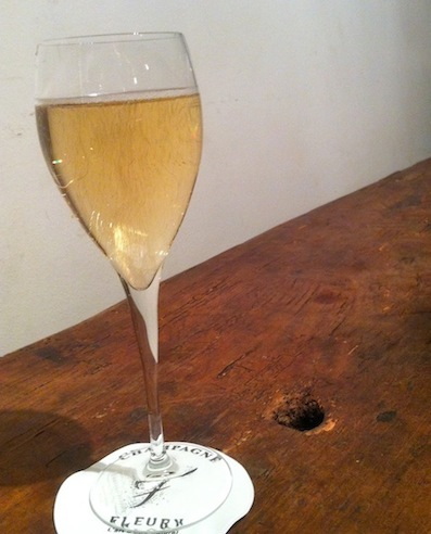 A glass of bubbly at Ma Cave Fleury