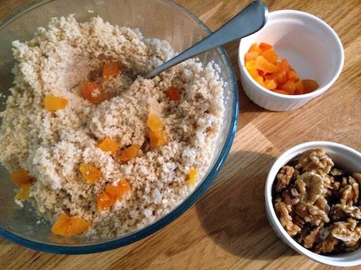 Preparing dried apricot couscous