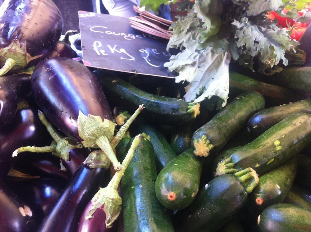 Eggplant, zucchini, and kale at Jean-Michel's stand, Marché Ornano 75018