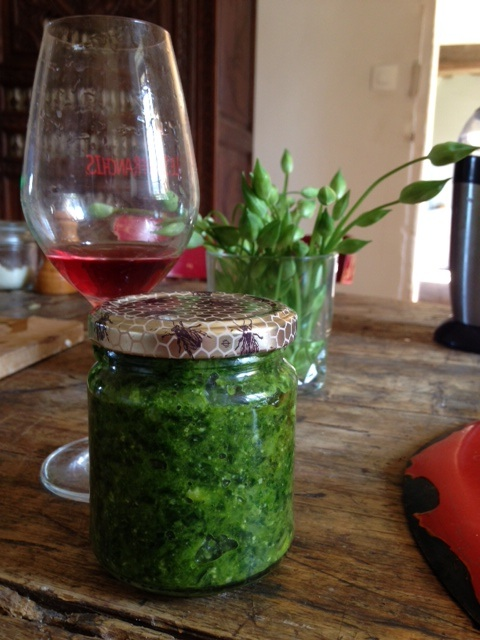"Potted Wild Garlic Pesto with a glass of Noella Morantin's rosé ""Marie Rose"", photo courtesy of Ben Nerot"