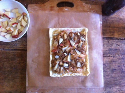 Inspired by Judy: a vegetarian spin on her Onion, Apple, and Bacon Tart