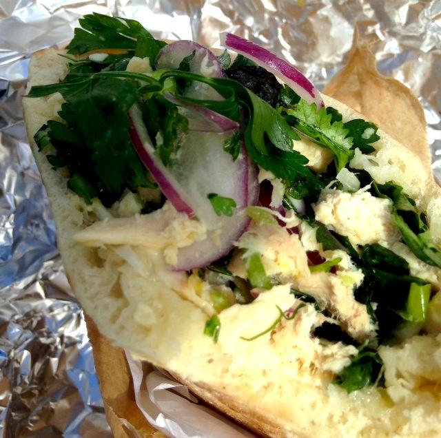 Miznon's chicken salad sandwich  photo courtesy of Stacey Pedersen Keating