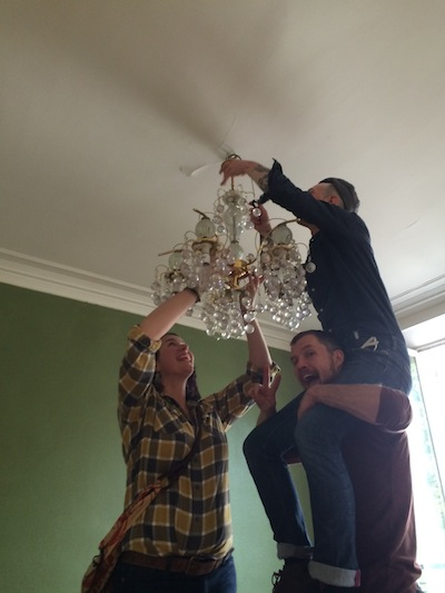 We almost forgot the gaudy gold chandelier!!
