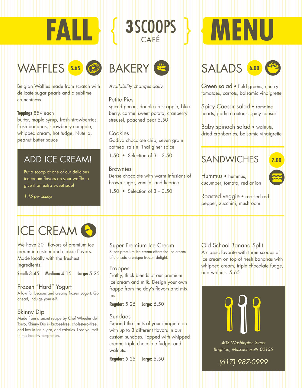 3 Scoops Boston Menu