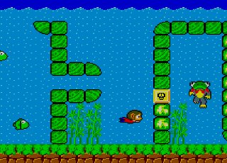The antimatter monster's green cousin (right) cameos in Alex Kidd in Miracle World (1986)