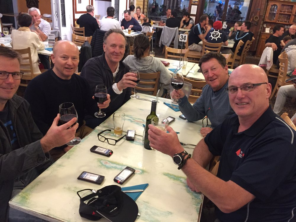 Senior members of the DBSC contingent sensibly prepare ahead of Sunday's 30 knot southerly.