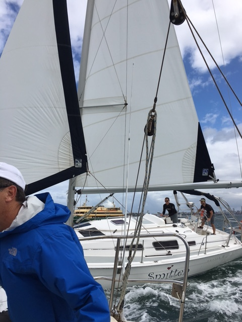 Big boat race 2 April 2017:  Smitten  challenging  G-Force  for second place, at the bottom mark (at Sow 'n Pigs). The challenge was successful, but by the finish  G-Force  had come back to win line honours. Photo courtesy of of  G-Force's  skipper (Edward Strike)