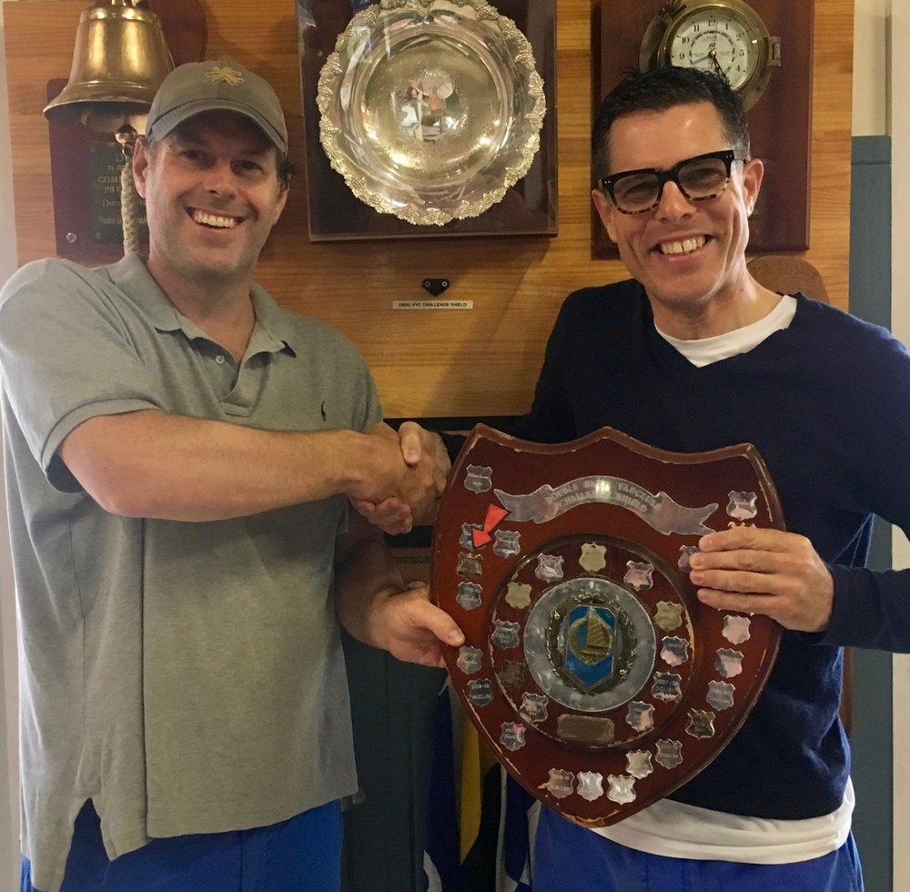 Michael Stackpool and Andrew Cox with the Double Bay - Vaucluse Shield