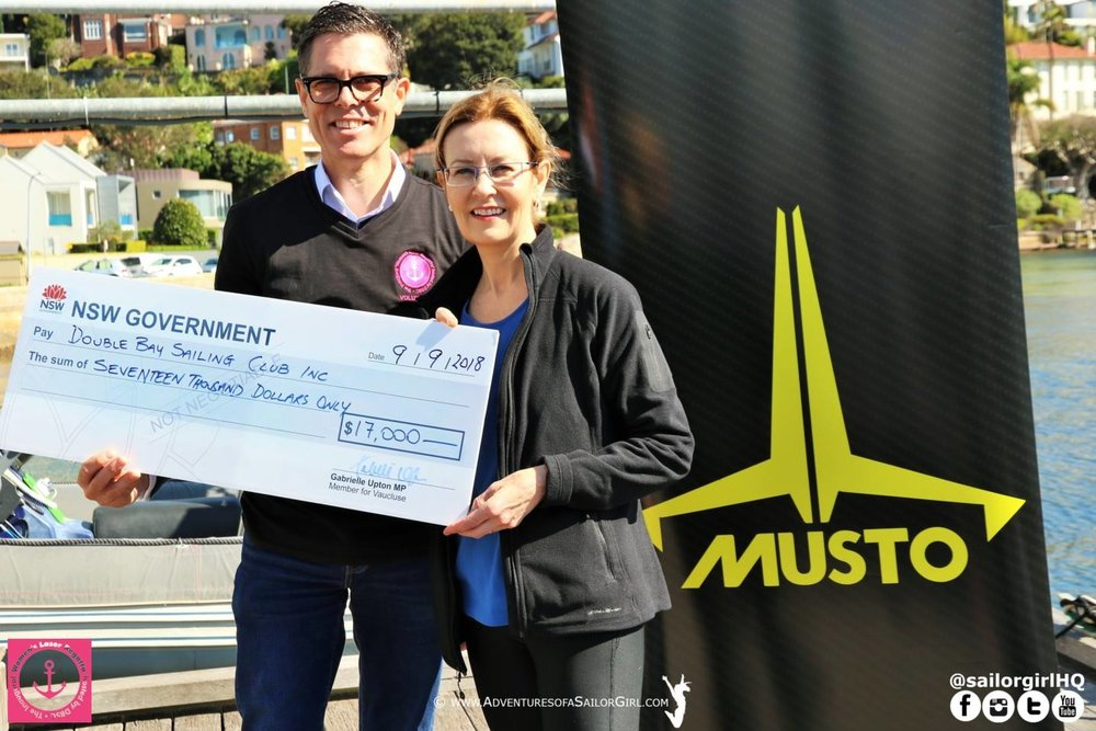 The Hon. Gabrielle Upton Presents a Cheque for Repairs to Commodore Cox.