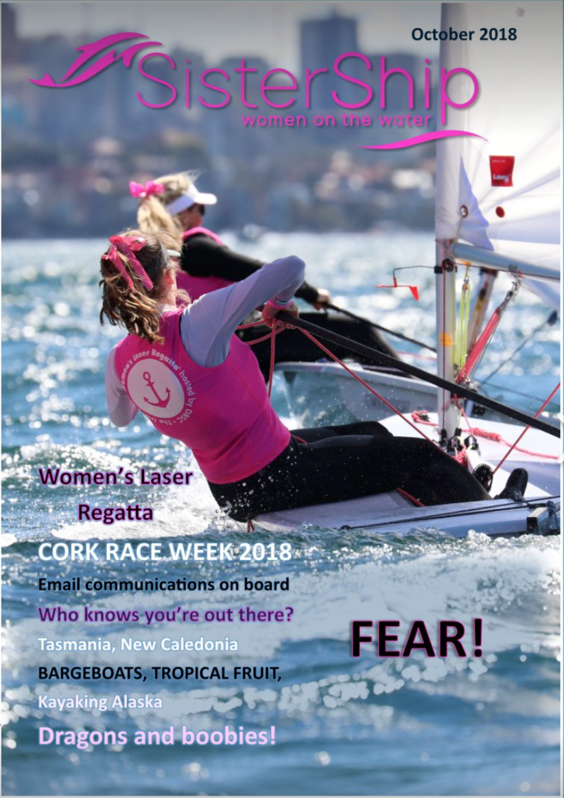 Front Cover of the October edition of SisterShip Magazine featuring the DBSC Woman's Laser Regatta.
