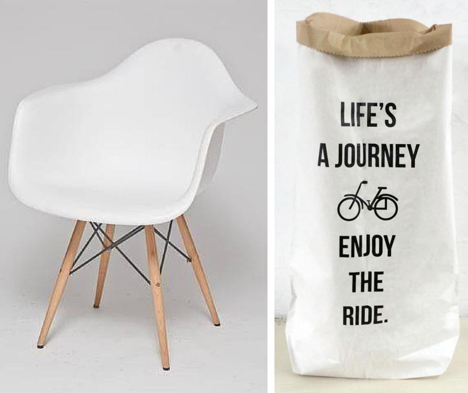 krzesło, papierowa torba: miahome.pl