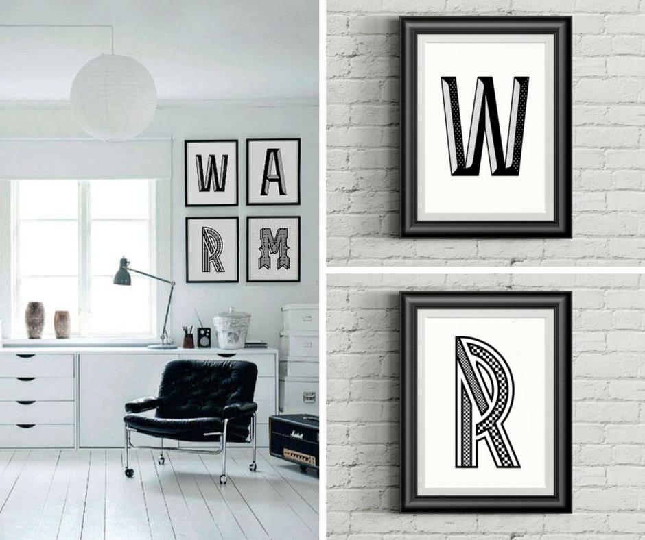 "fot.  decobazaar.com/loveletters ,  plakat ""W"" ,  plakat ""R"""