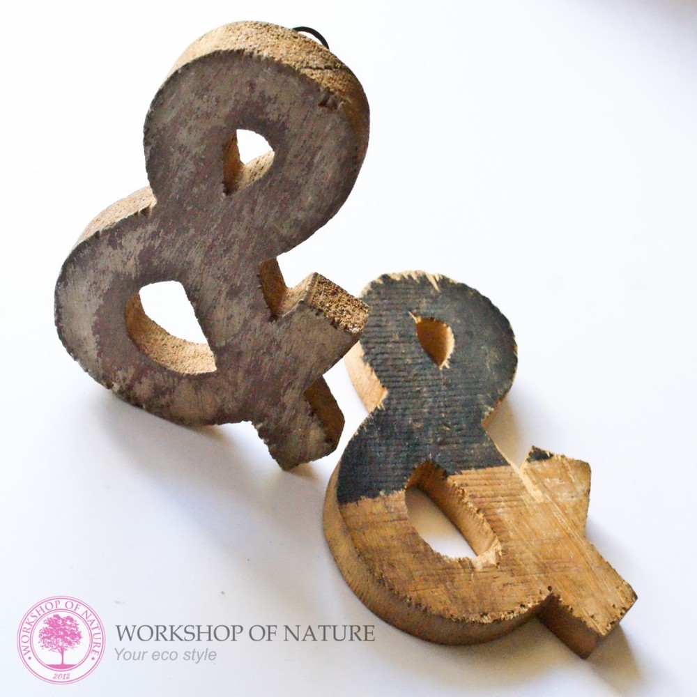 Drewniane litery:  workshopofnature.pl