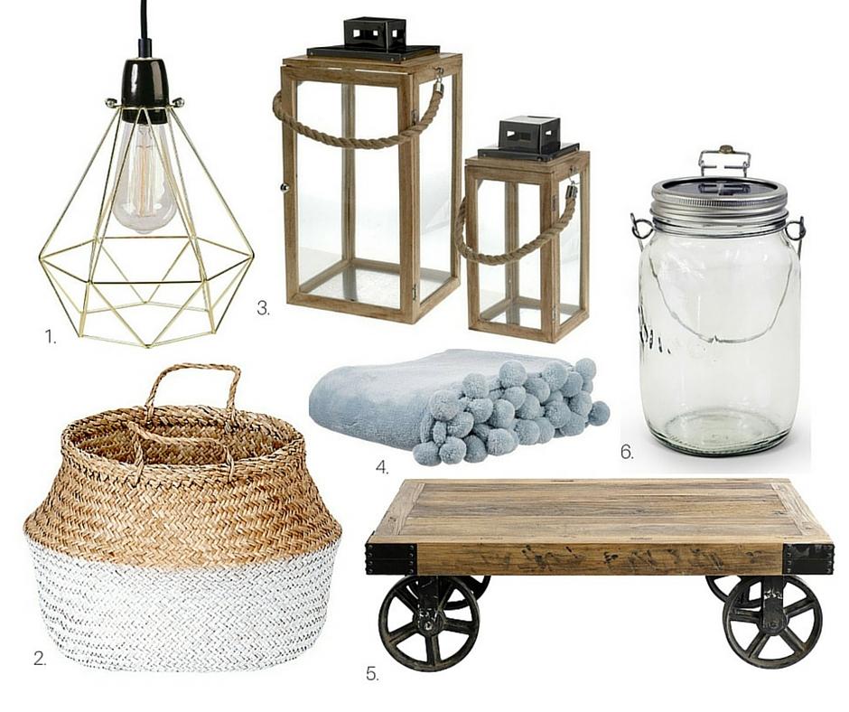 1. Lampa:  lightonline.pl , 2. kosz:  monkeymachine.pl , 3. Lampiony:  dekoracjadomu.pl , 4. Koc z pomponami:  miahome.pl , 5. Stolik na kołach:  northstyle.pl , 6. Lampa LED-słoik:  lightonline.pl