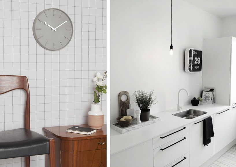 Zegar 1: lil.nl , zegar z kalendarzem: 9design.pl