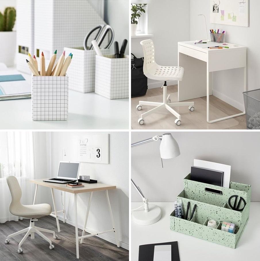 Pojemniki w kratkę ,  biurko   i krzesło z fot.2,   biurko   i krzesło z fot.3,   organizer w kolorze miętowym